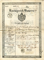 Document #8 - Alois's pass to exit Bavaria, 1855