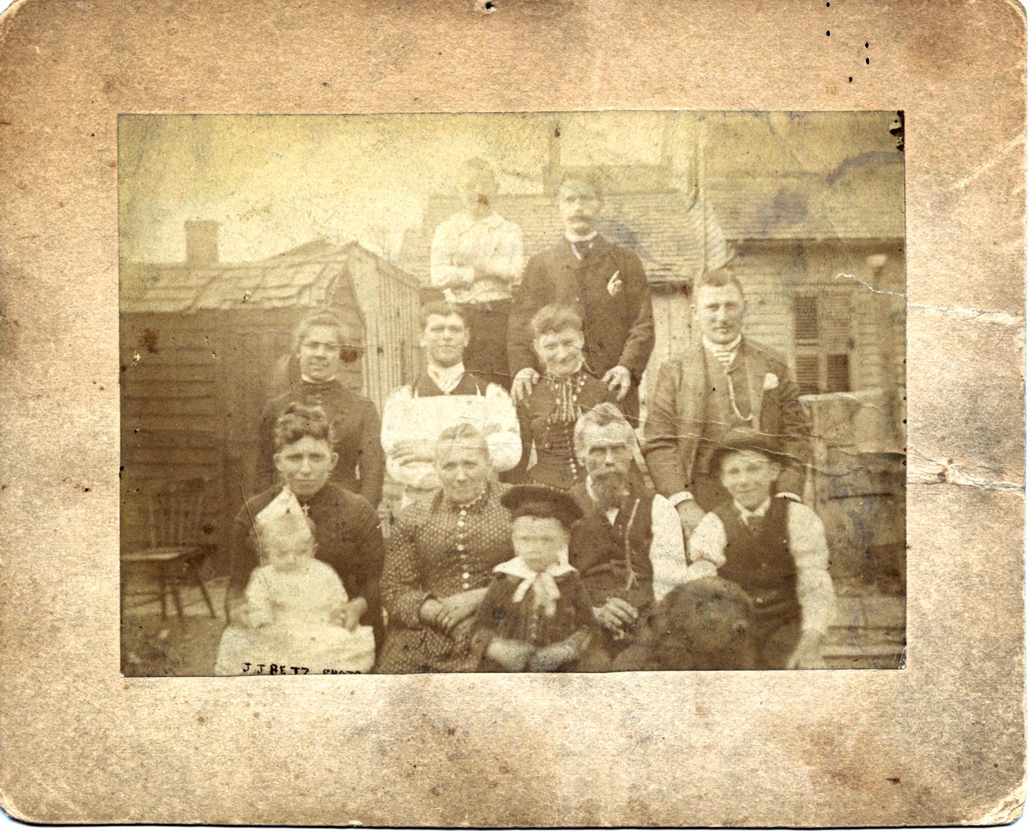 Group photo on Marion Street, 1887, enhanced