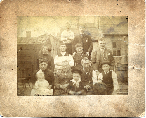 Group photo on Marion Street, 1887, enhanced