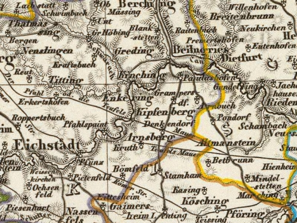 1856 Geographisches Institut Bavaria map detail