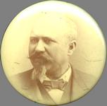 Peter Schneider funeral pin, 1891