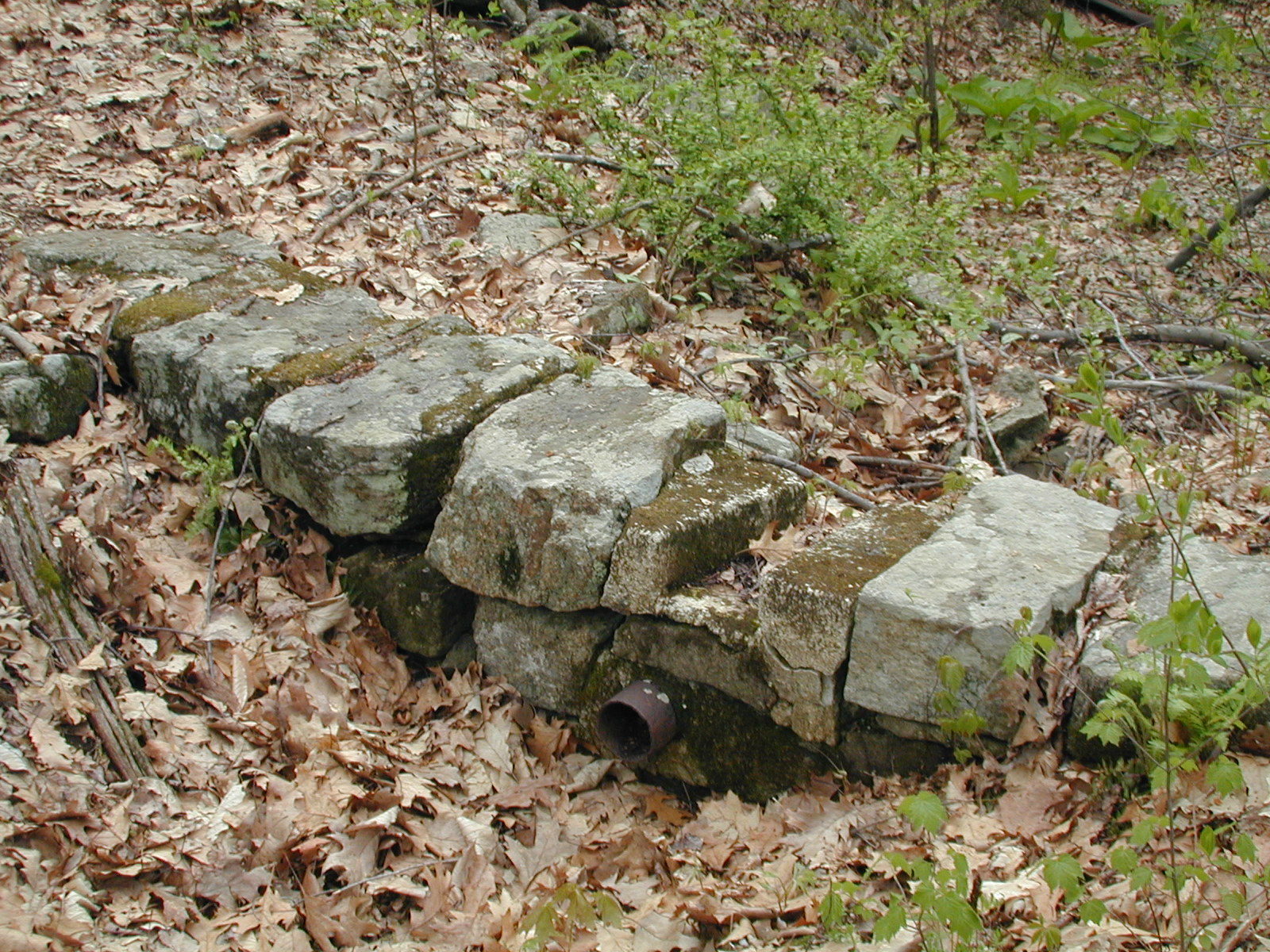 Stonework and piping near Chester Furnace