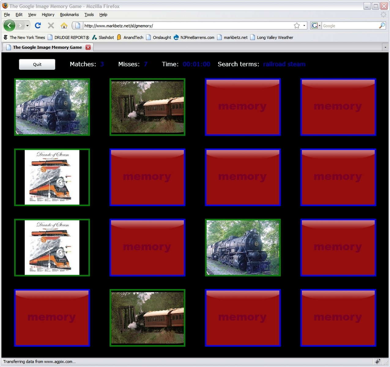 GMemory: a Google Image search game for Silverlight 2