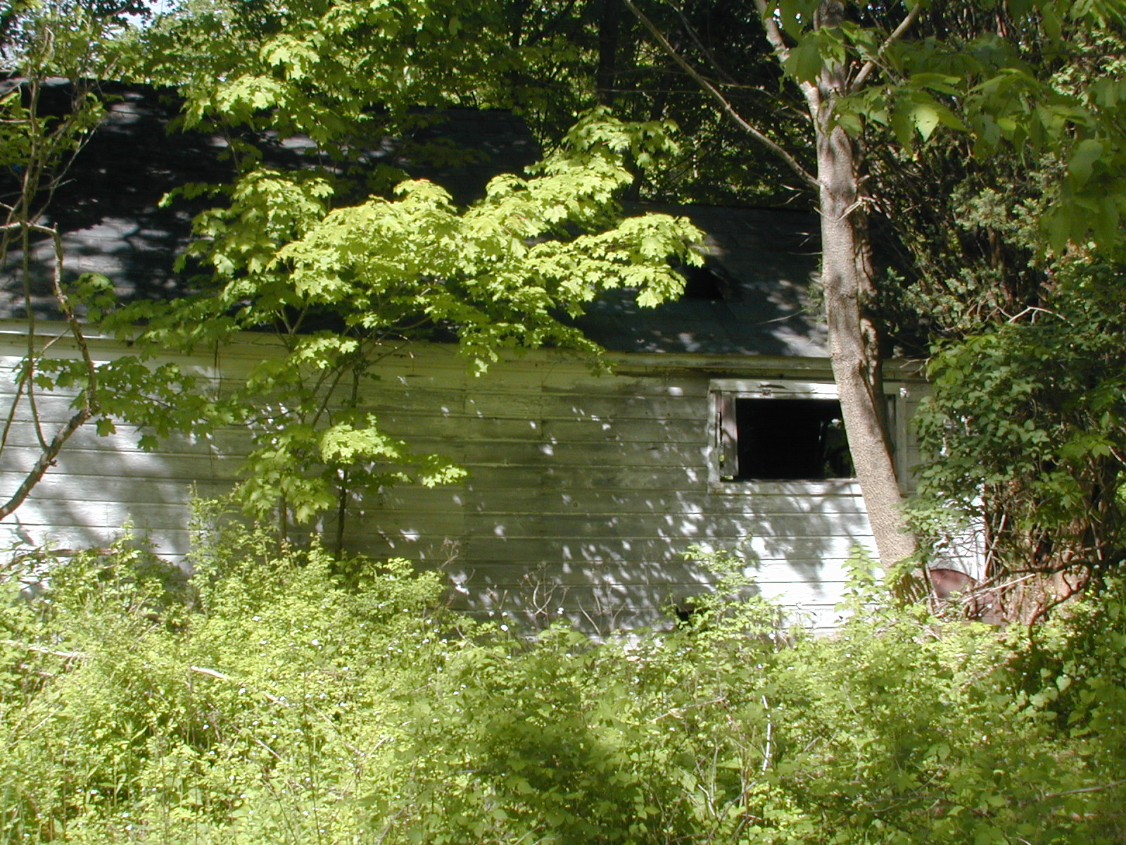 Rear view of the garage on the Depue property