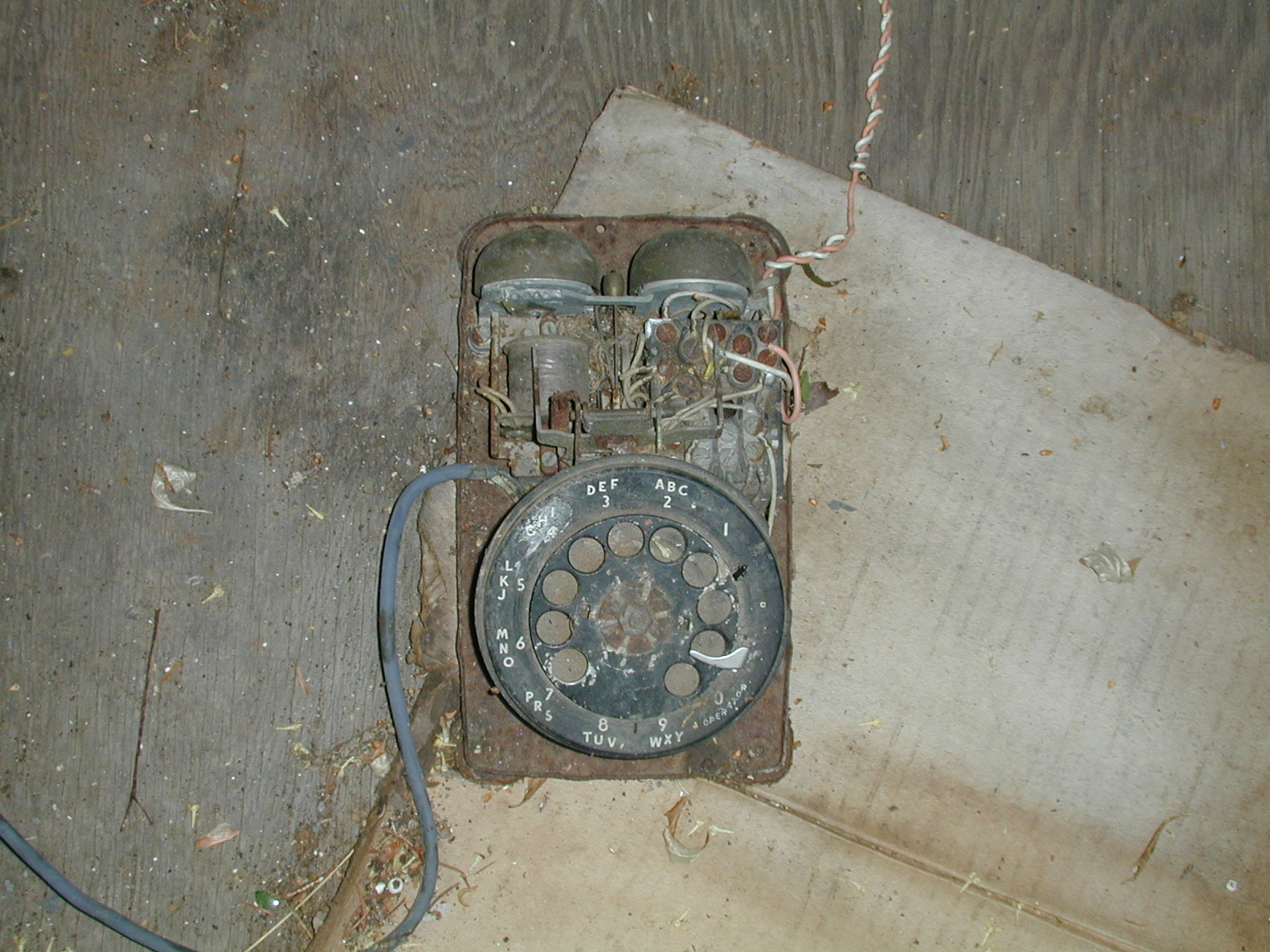 Telephone inside the Depue farmhouse