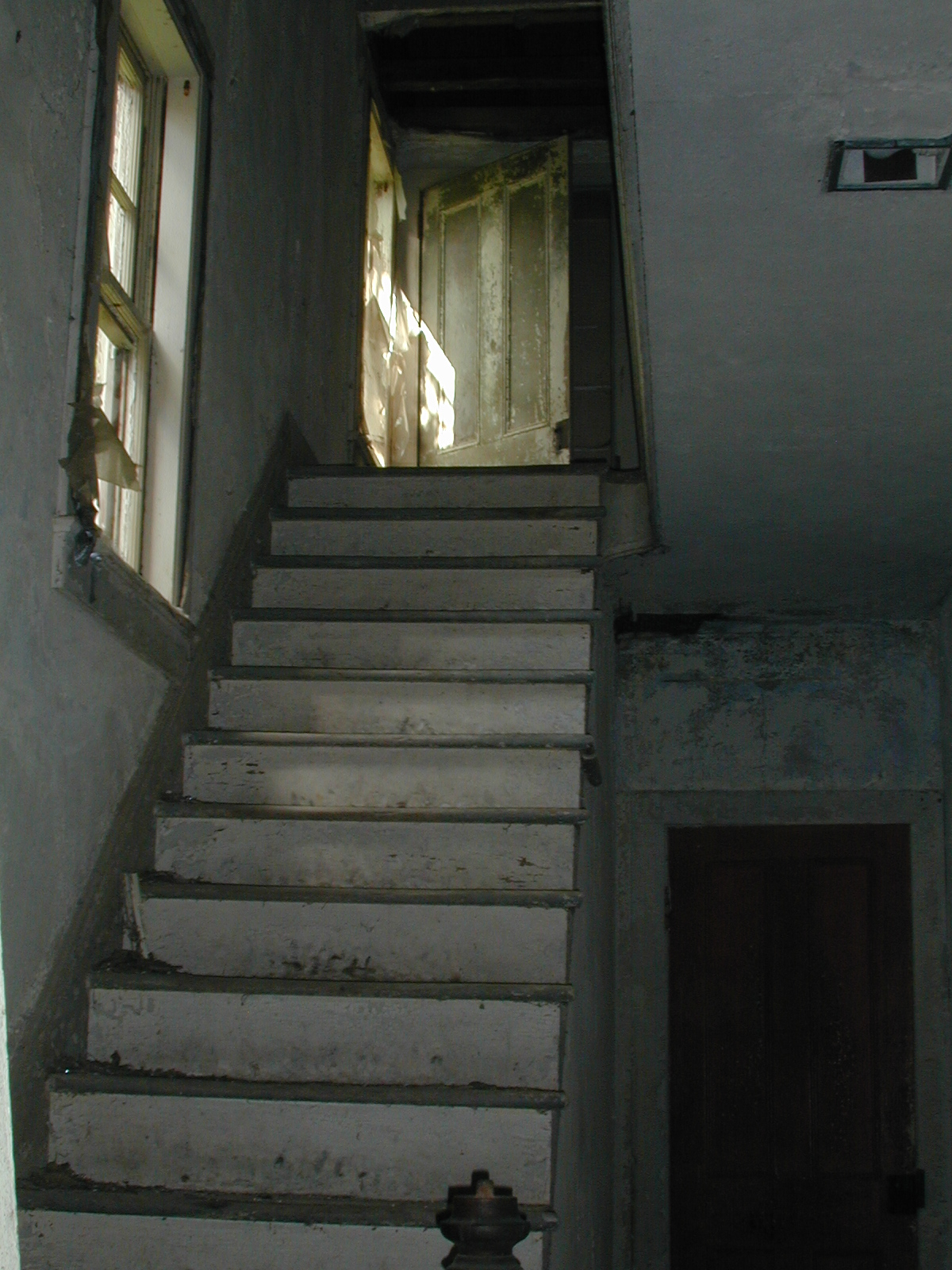 Looking up the stairs in the Depue farmhouse