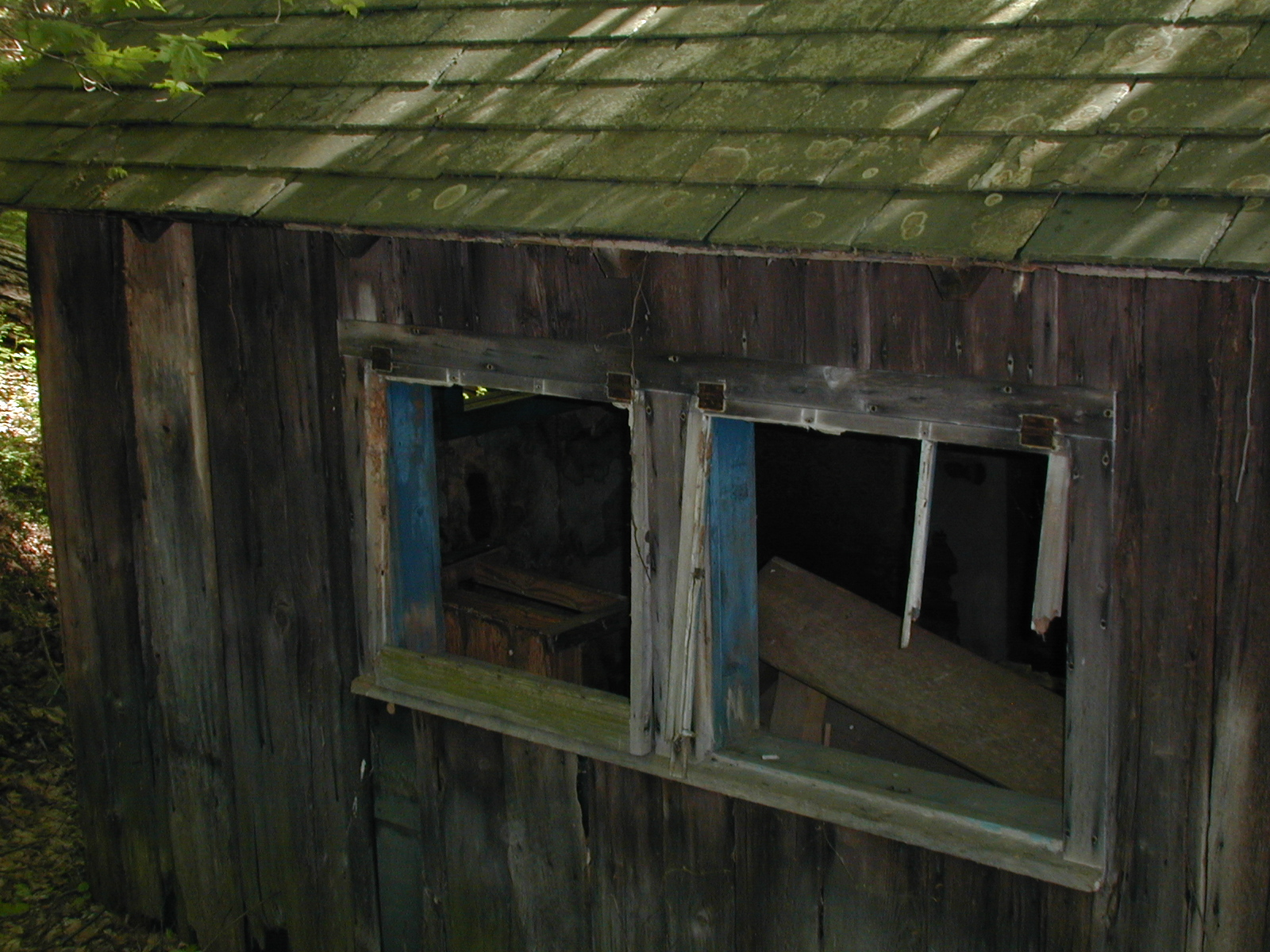 "Back windows of the ""map house"" on the Depue property"