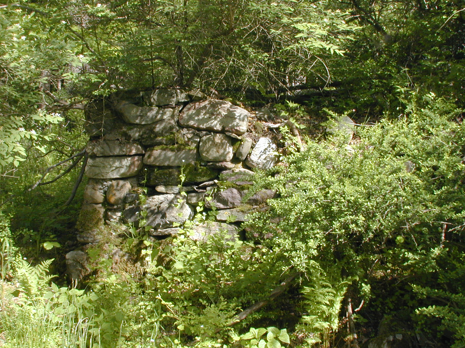 Left corner of the foundation wall near the garage on the Depue property